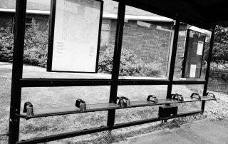 Bus shelter in Warwickshire, England