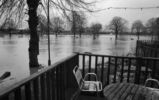 Flooded river in Warwickshire, England