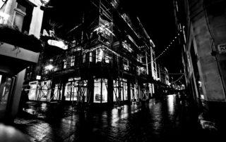 Night Scaffolding in London, England
