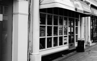 An old charity shop in Devon, England