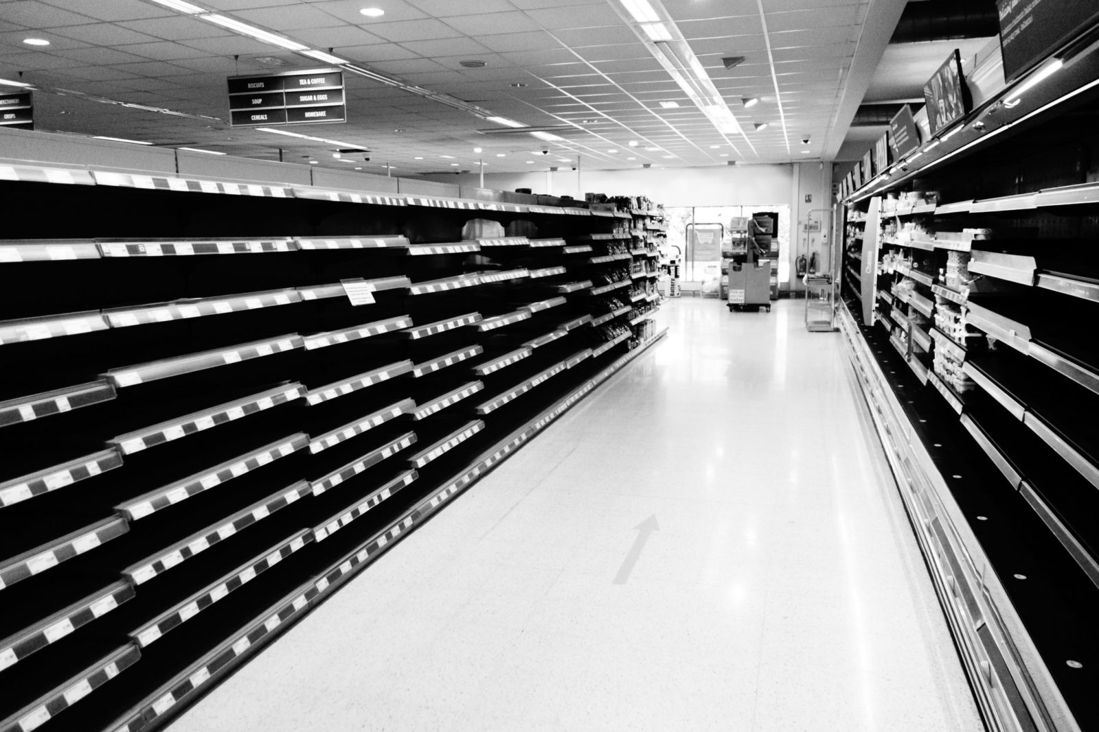 Some empty shelves after a supermarket re-branding
