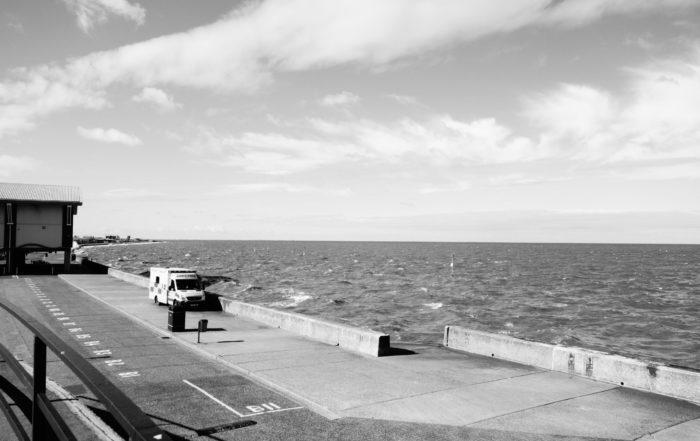 A seaside ambulance waiting in Norfolk, England