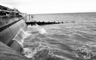 A sea wall in Norfolk, England