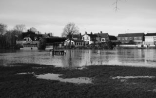 Flooded river banks in Warwickshire, England