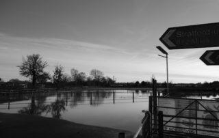 Aftermath of a flood in Warwickshire, England
