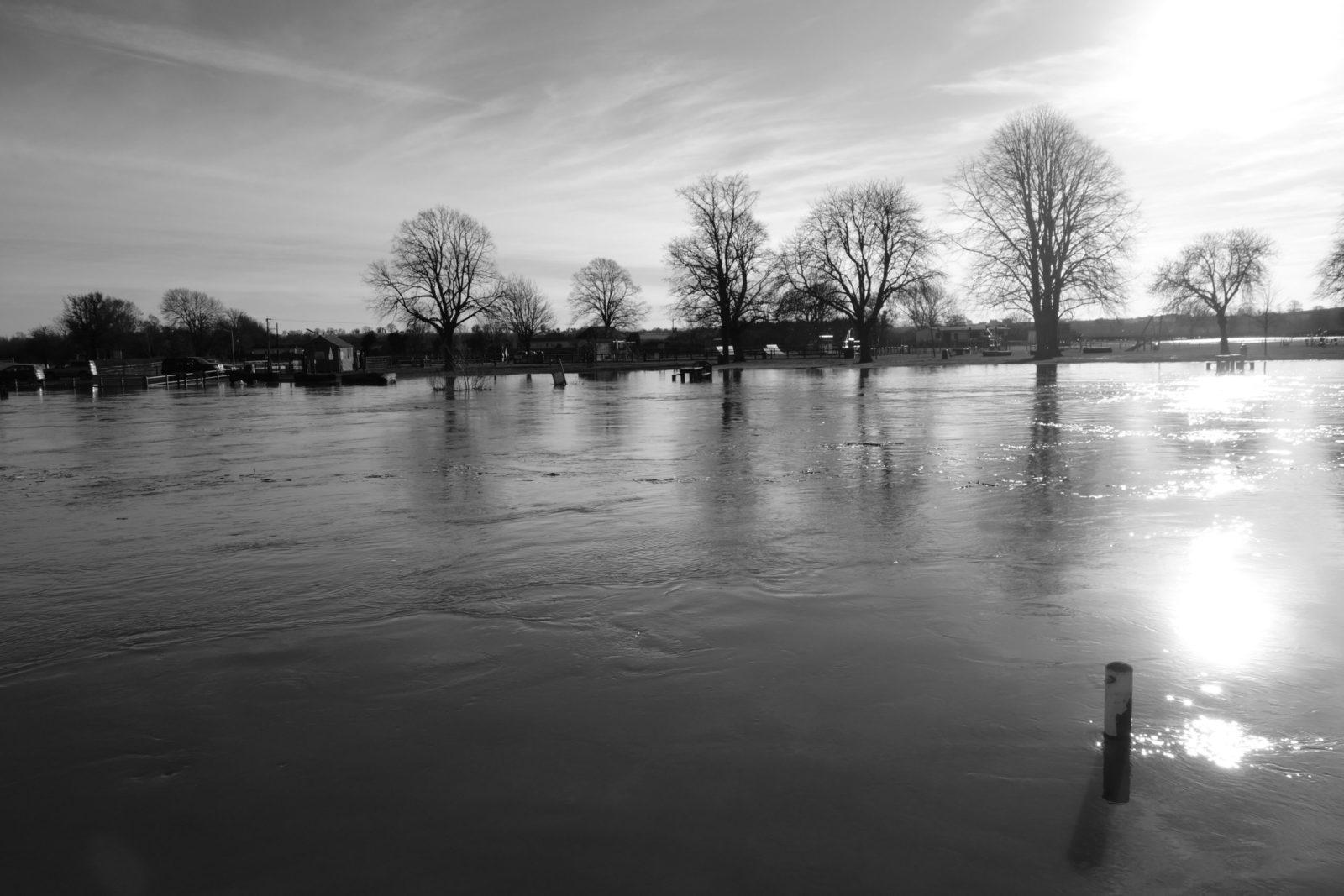 A flooded meadow in Warwickshire, England