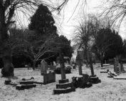 Frozen Graves in Warwickshire, England