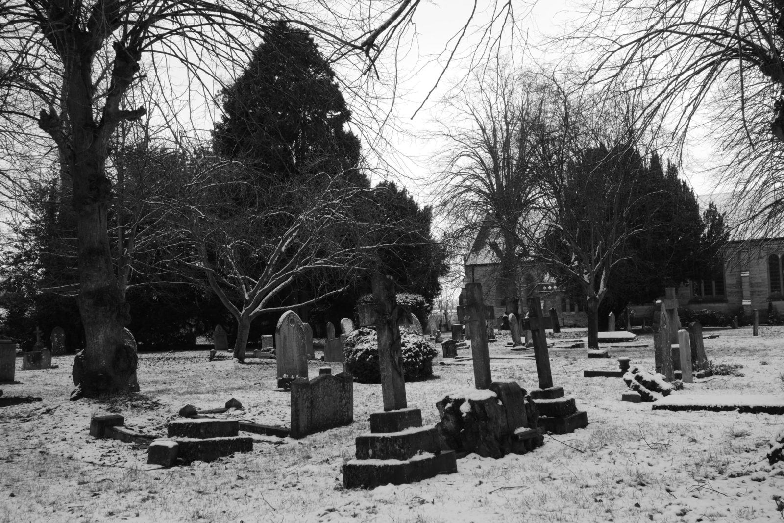 Frozen Graves in Warwickshire, England