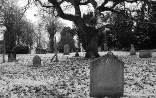 Frozen Headstones in Warwickshire, England